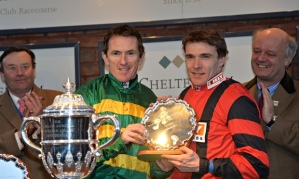 Tony McCoy with Tom Scudamore, who rode the winner of the A P McCoy Grand Annual Chase at Cheltenham
